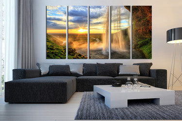 5 piece canvas photography, living room art, landscape artwork, yellow canvas print, sunrise wall art, waterfall large pictures