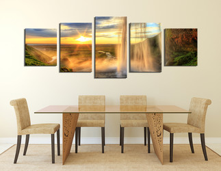 5 piece large pictures, living room artwork, landscape multi panel art, yellow photo canvas, sunrise huge canvas print, waterfall panoramic wall decor