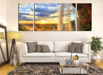 3 piece wall decor, living room canvas print, landscape canvas art prints, sunrise artwork, waterfall photo canvas, panoramic art