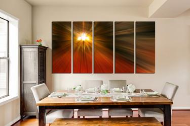 5 piece canvas wall art, dining room wall art, modern wall decor, orange canvas print