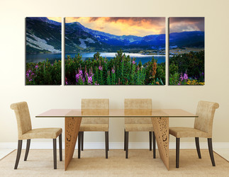3 piece canvas wall art, dining room wall decor, landscape multi panel canvas, blue artwork, mountain photo canvas, floral art, panoramic canvas photography
