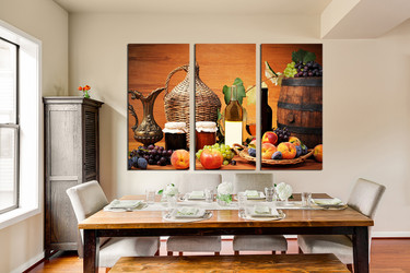 3 piece photo canvas, dining room canvas wall art, fruits multi panel art, wine multi panel canvas, wine bottle artwork