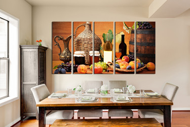 5 piece canvas wall art, dining room huge canvas print, wine large pictures, wine bottle multi panel canvas, fruits canvas photo canvas