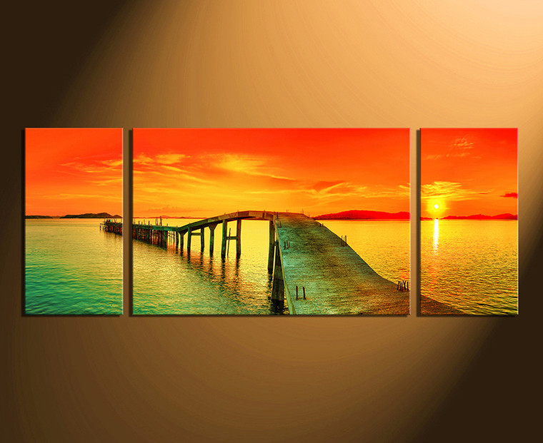 3 piece huge canvas print, panoramic large pictures, ocean multi panel art, orange group canvas, home decor
