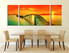 3 piece artwork, ocean wall decor, orange canvas art prints, dining room canvas wall art, sunset photo canvas