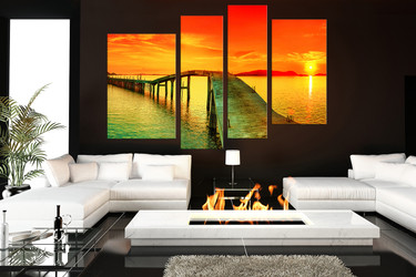 4 piece huge pictures, living room photo canvas, sunset wall art, ocean multi panel art, orange sea canvas print