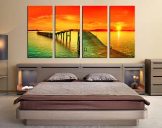 4 piece canvas photography, bedroom huge pictures, sunset canvas art prints, orange large canvas, ocean artwork