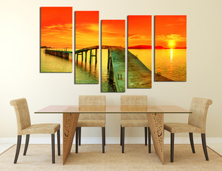 5 piece large canvas, dining room artwork, orange sea canvas print, ocean huge canvas art