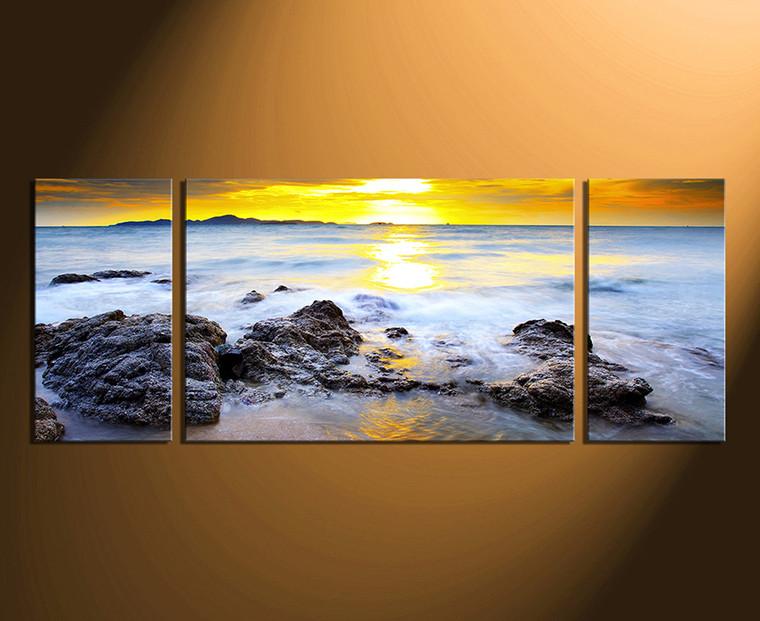 3 piece huge pictures, home decor, sunset multi panel art, yellow artwork, ocean wall art