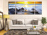 3 piece artwork, living room huge canvas print, yellow large pictures, ocean canvas photography, rock multi panel art