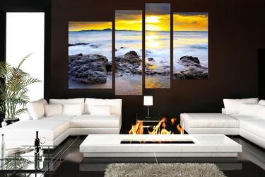 4 piece large canvas, yellow sunset wall decor,  ocean canvas photography, living room multi panel canvas
