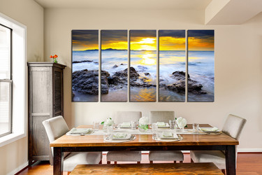 5 piece art, yellow huge pictures, ocean canvas photography, rock wall decor, bedroom multi panel canvas