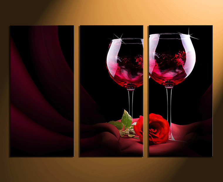 3 piece wall art, home decor, rose artwork, wine multi panel canvas, red wine canvas photography