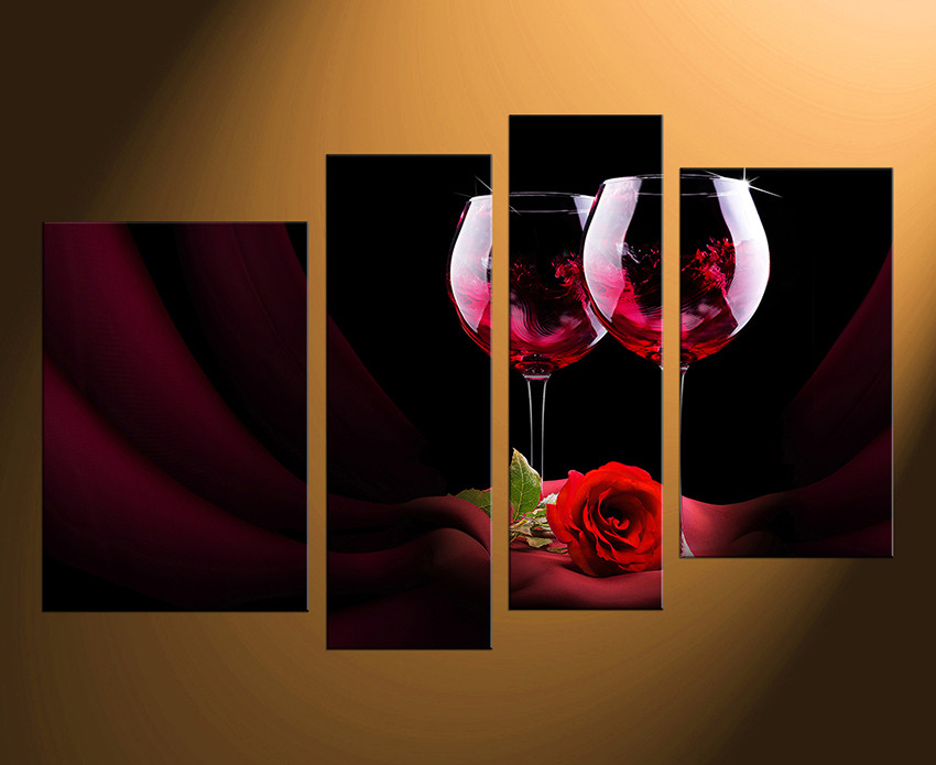 4 Piece Canvas Wall Art Wine Wall Decor Rose Canvas Print Wine