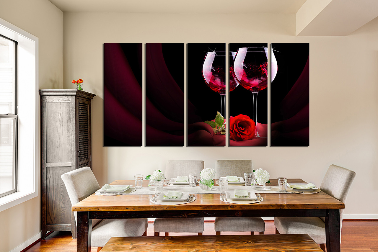 5 Piece Huge Canvas Print, Red Wine Photo Canvas , Rose Artwork, Floral  Multi Panel Art, Wine Bottles Large Pictures, Wine Wall Decor