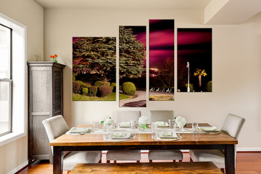 4 piece canvas art prints, dining room wall decor, scenery group canvas, green multi panel canvas, nature canvas photography