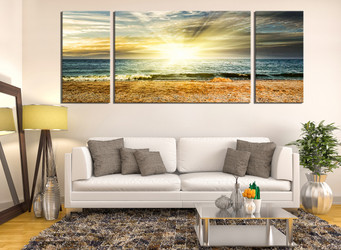 3 piece canvas wall art, yellow sunrise wall decor, living room canvas print, ocean huge canvas art
