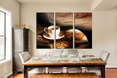 3 piece photo canvas, dining room canvas print, kitchen canvas wall art, coffee cup multi panel art, coffee artwork