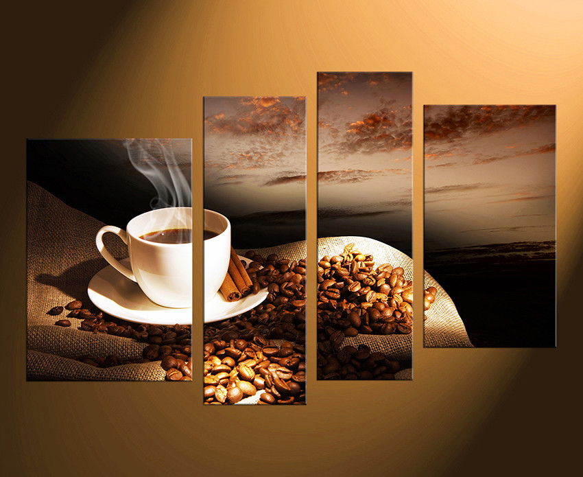 surprising Kitchen Canvas Wall Art Part - 6: 4 piece group canvas, home decor, coffee multi panel art, coffee multi panel