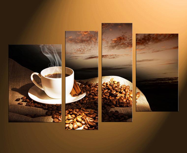 4 piece group canvas, home decor, coffee multi panel art, coffee multi panel canvas, coffee beans canvas art prints