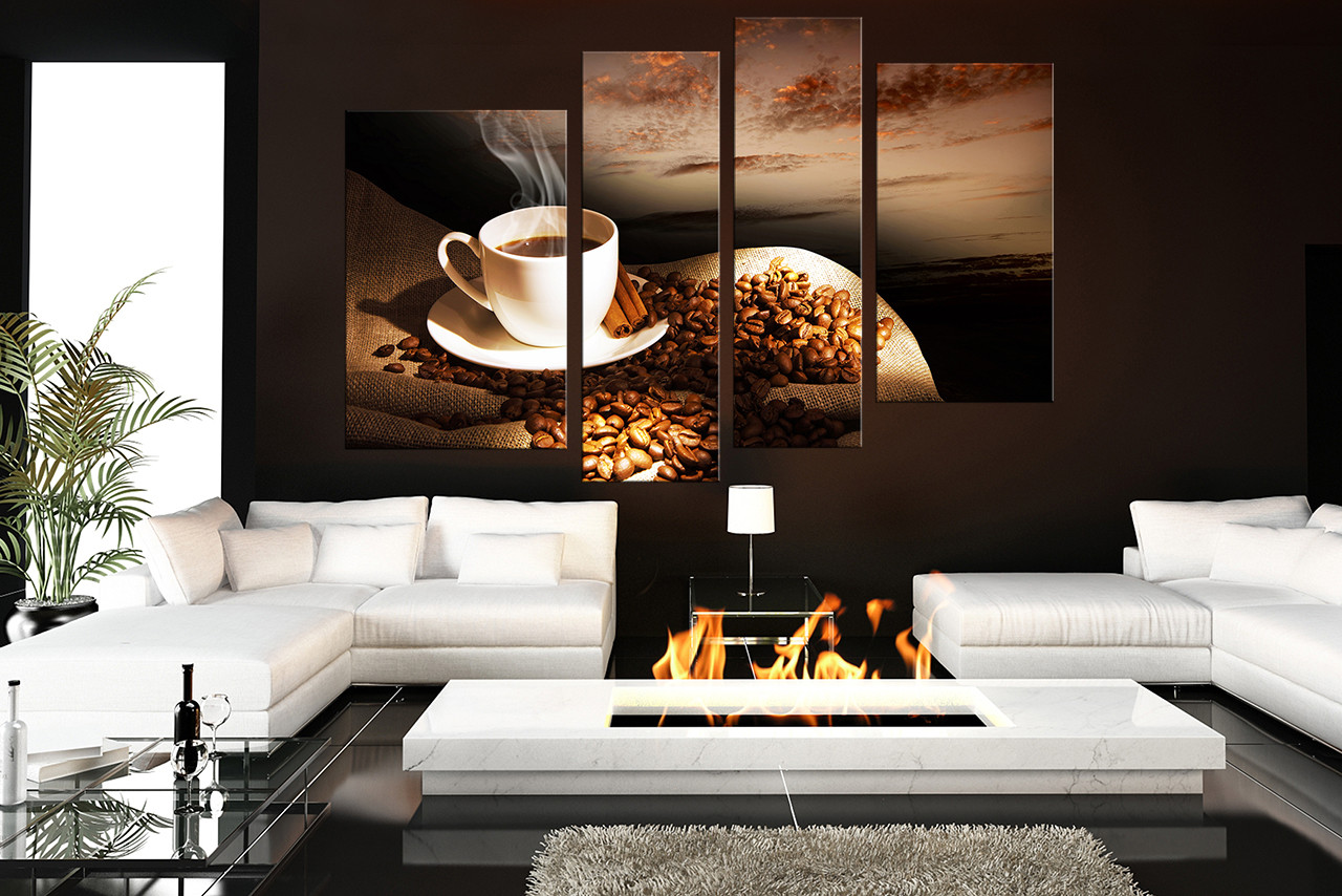 4 Piece Canvas Wall Art, Coffee Beans Huge Canvas Print, Coffee Artwork,  Cinnamon Group Canvas, Cup Plate Canvas Photography, Brown Photo Canvas