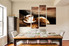 4 piece large canvas , dining room huge pictures, kitchen large canvas, coffee multi panel canvas, coffee beans canvas art prints