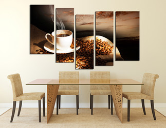 5 piece canvas wall art, dining room decor, coffee multi panel canvas, coffee beans canvas photography
