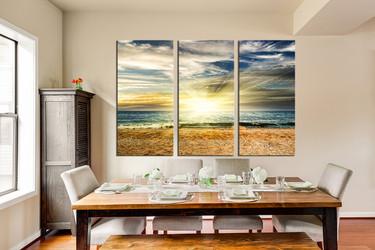 3 piece huge canvas art, dining room art, yellow sunrise multi panel canvas, ocean canvas wall art