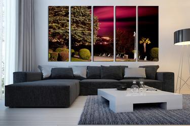 5 piece photo canvas, living room huge pictures, scenery artwork, green canvas art prints, nature huge canvas art