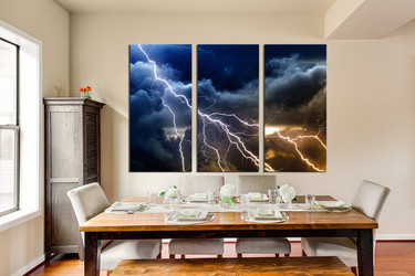 3 piece wall decor, dining room huge canvas print, thunderstorm multi panel canvas, blue photo canvas, clouds canvas art prints