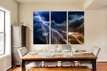 3 piece wall decor, dining room huge canvas print, thunderstorm multi panel canvas, blue photo canvas, clouds canvas art prints