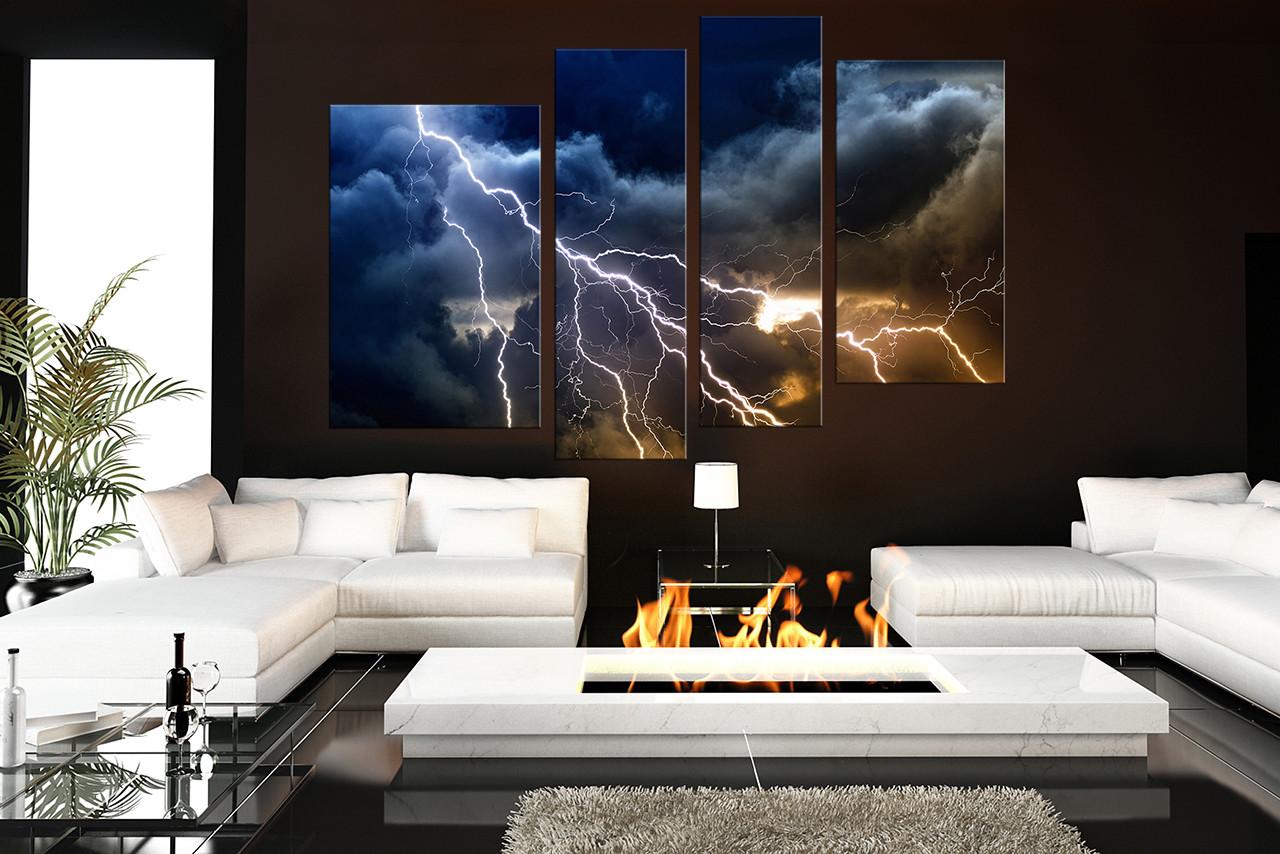 4 piece multi panel art thunderstorm canvas art prints blue huge rh vvvart com large modern paintings for living room