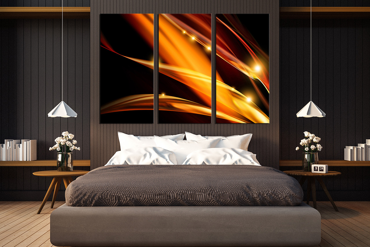 3 Piece Canvas Photography Modern Multi Panel Canvas Orange Huge Canvas Print Abstract Canvas Wall Art