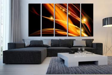 5 piece canvas wall art, modern wall art,brown wall decor, living room canvas print, brown abstract huge canvas art