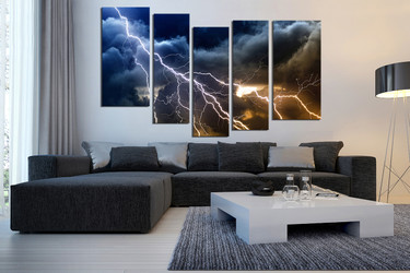 5 piece group canvas, living room large pictures, thunderstorm art, blue huge pictures, clouds canvas photography