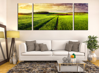 3 piece group canvas, living room art, scenery wall decor, green huge canvas print, nature panoramic canvas wall art