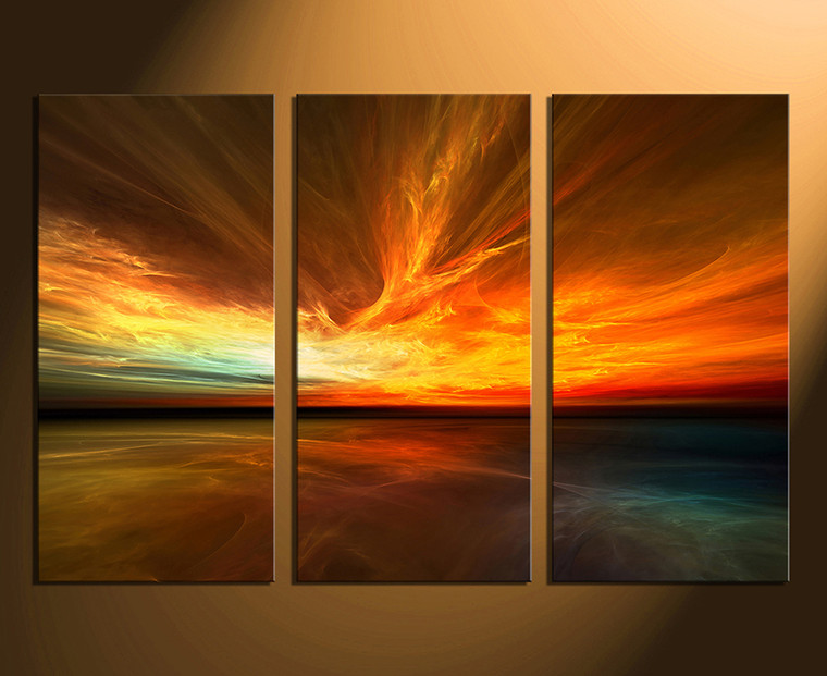 3 piece canvas photography, orange canvas art prints, ocean canvas wall art, ocean wall art, sea artwork