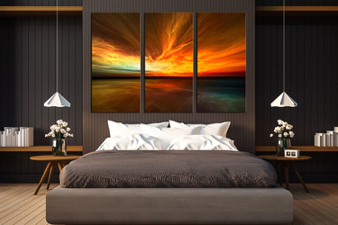 3 piece canvas wall art, orange multi panel canvas, bedroom wall decor, sea artwork, ocean wall art