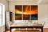 3 piece huge canvas art, orange canvas art prints, dining room decor, sea wall art, ocean artwork