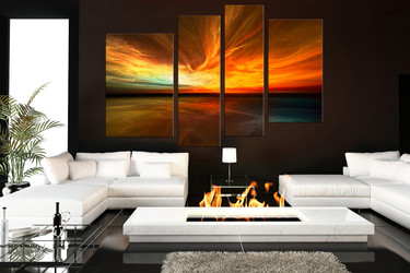 4 piece canvas wall art, orange canvas print, living room wall decor, sea artwork, waves group canvas