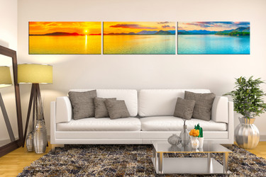 3 piece large canvas, orange sea multi panel canvas, ocean canvas photography, living room wall decor, panoramic art