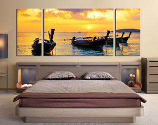 3 piece wall decor, bedroom panoramic wall art, boat canvas print, bedroom huge canvas print, ocean panoramic huge canvas art