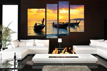 4 piece wall decor, living room canvas print, ocean multi panel art, boat ocean wall art, ocean art