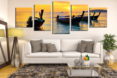 5 piece artwork, living room wall art, mountain multi panel canvas, ocean wall decor, yellow huge pictures