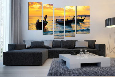 5 piece large pictures, living room photo canvas, yellow sea multi panel canvas, ocean wall decor
