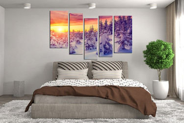 5 piece canvas wall art, bedroom huge pictures, scenery canvas print, sunrise canvas photography, snow artwork, white large pictures