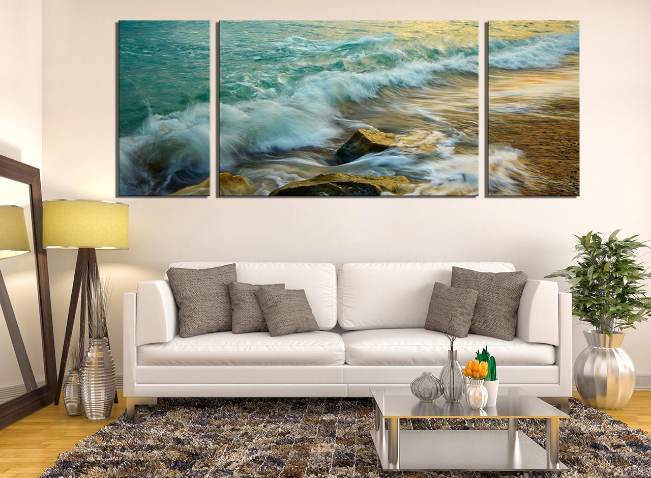 fascinating Ocean Wall Decor Part - 14: 3 piece canvas wall art, green ocean wall decor, rock canvas print, living