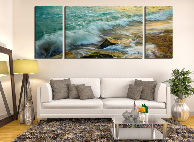 3 piece canvas wall art, green ocean wall decor, rock canvas print, living room large pictures
