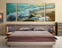 3 piece huge canvas print, bedroom photo canvas, green sea multi panel canvas, panoramic artwork