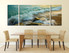 3 piece canvas photography, dining room multi panel art, waves wall decor, green ocean group canvas